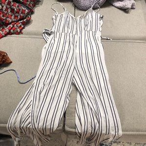 Forever 21 white striped jumpsuit